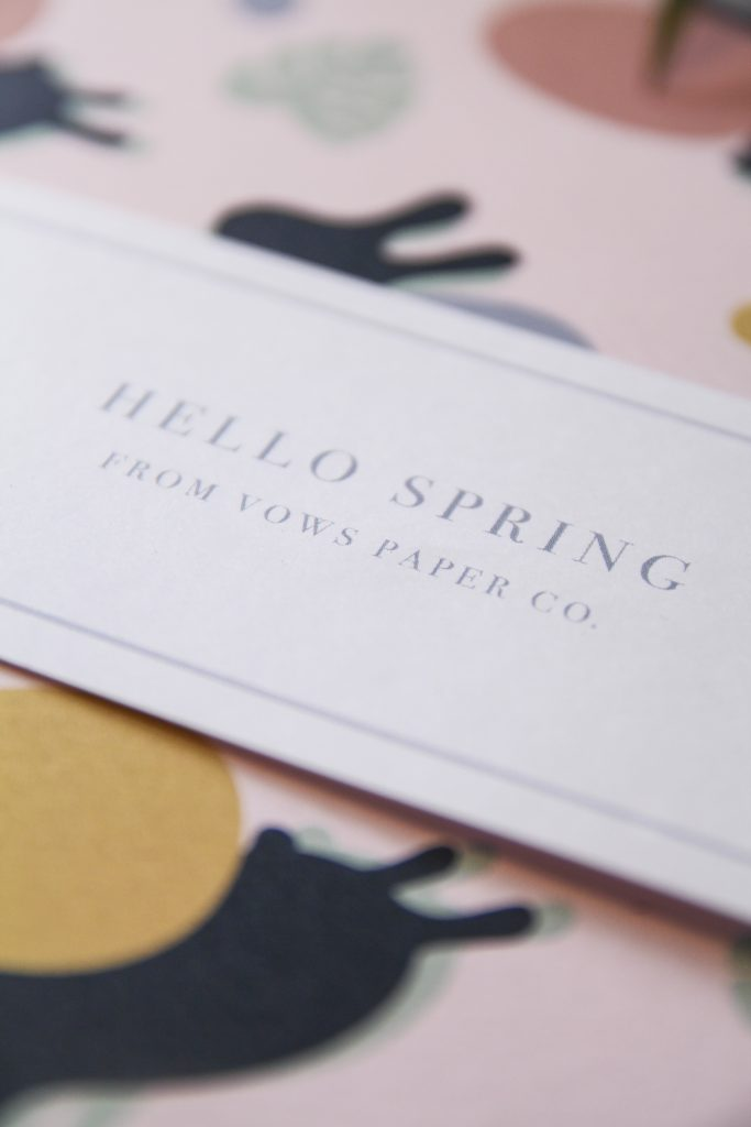 Example how to create a bookmark from Hello Spring from Vows Paper Co. Bookmark