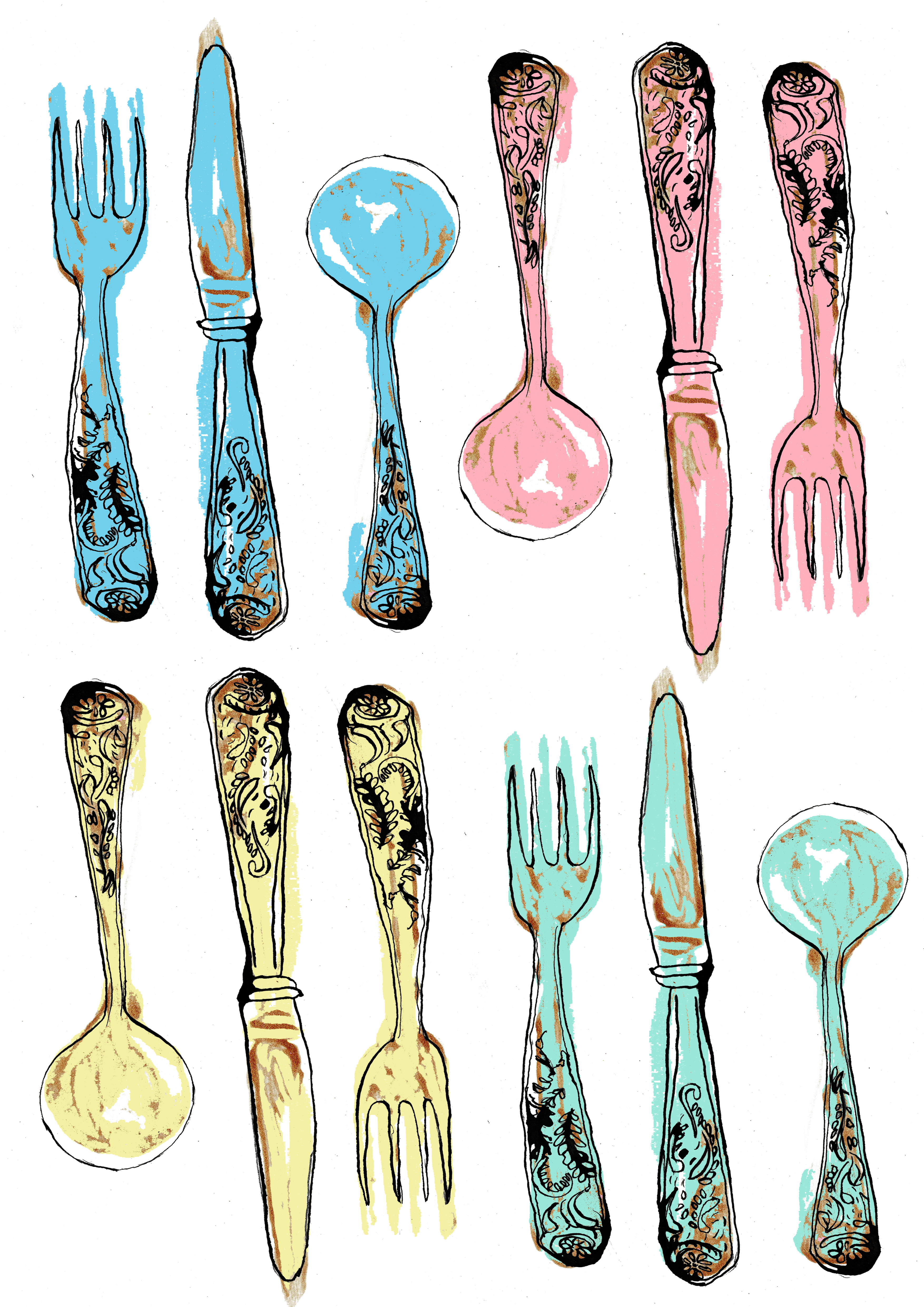 CW Illustrations cutlery print, using watercolour designs