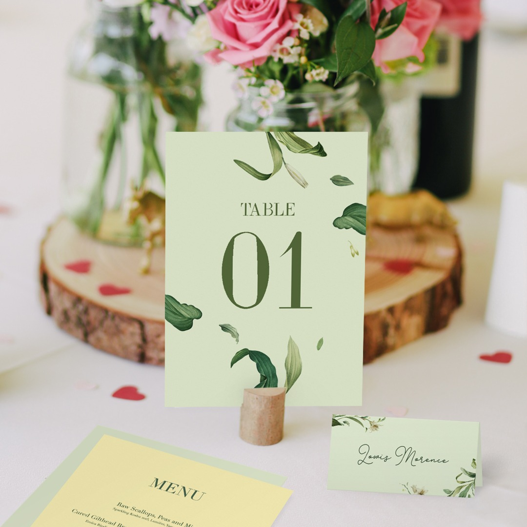 Pastel green wedding table number