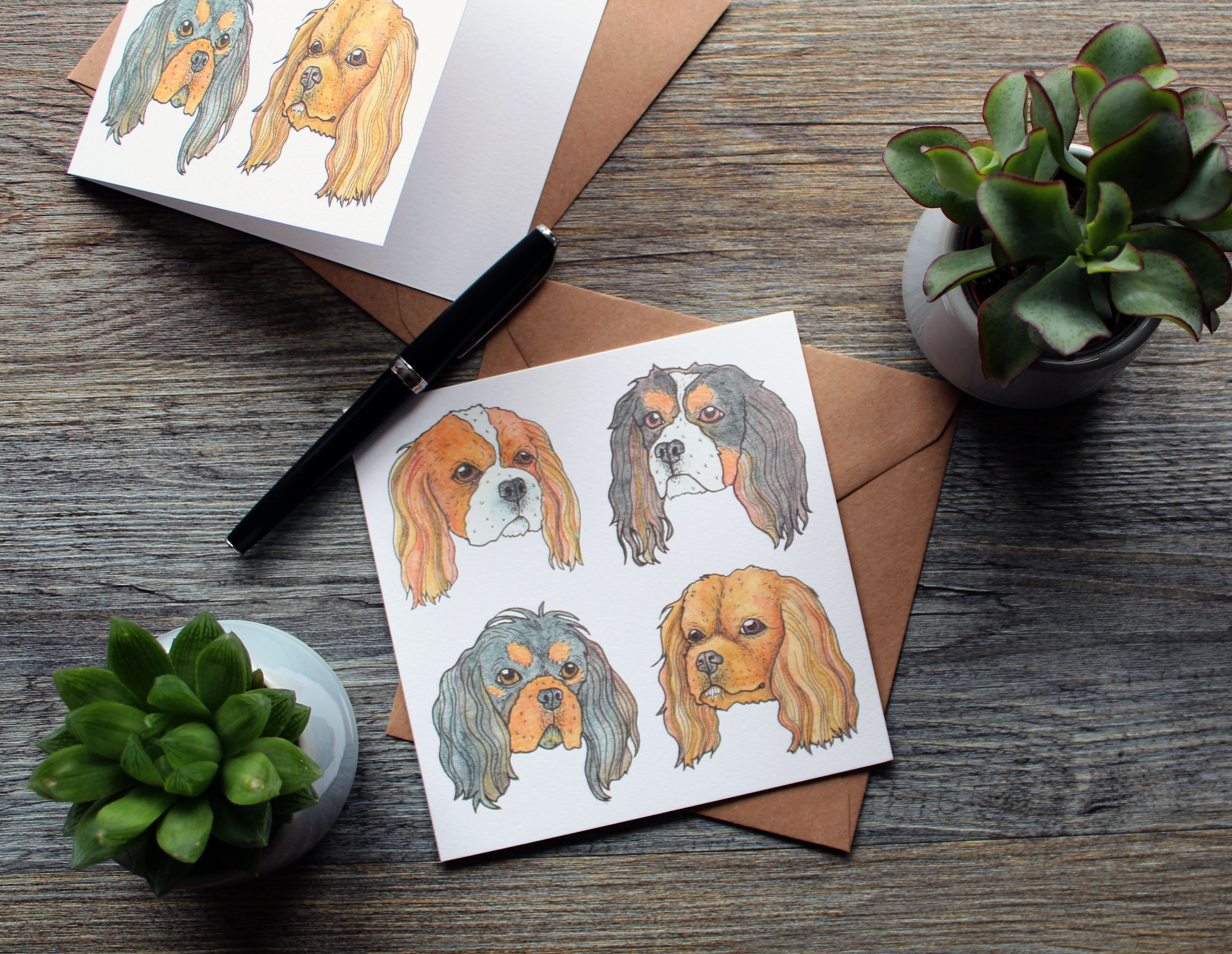 Dog art print greeting cards by drawn and drafted, printed at printed.com