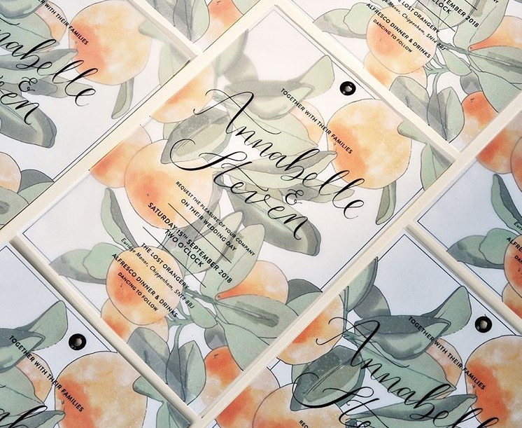 Pixel and Ink tangerine wedding stationery