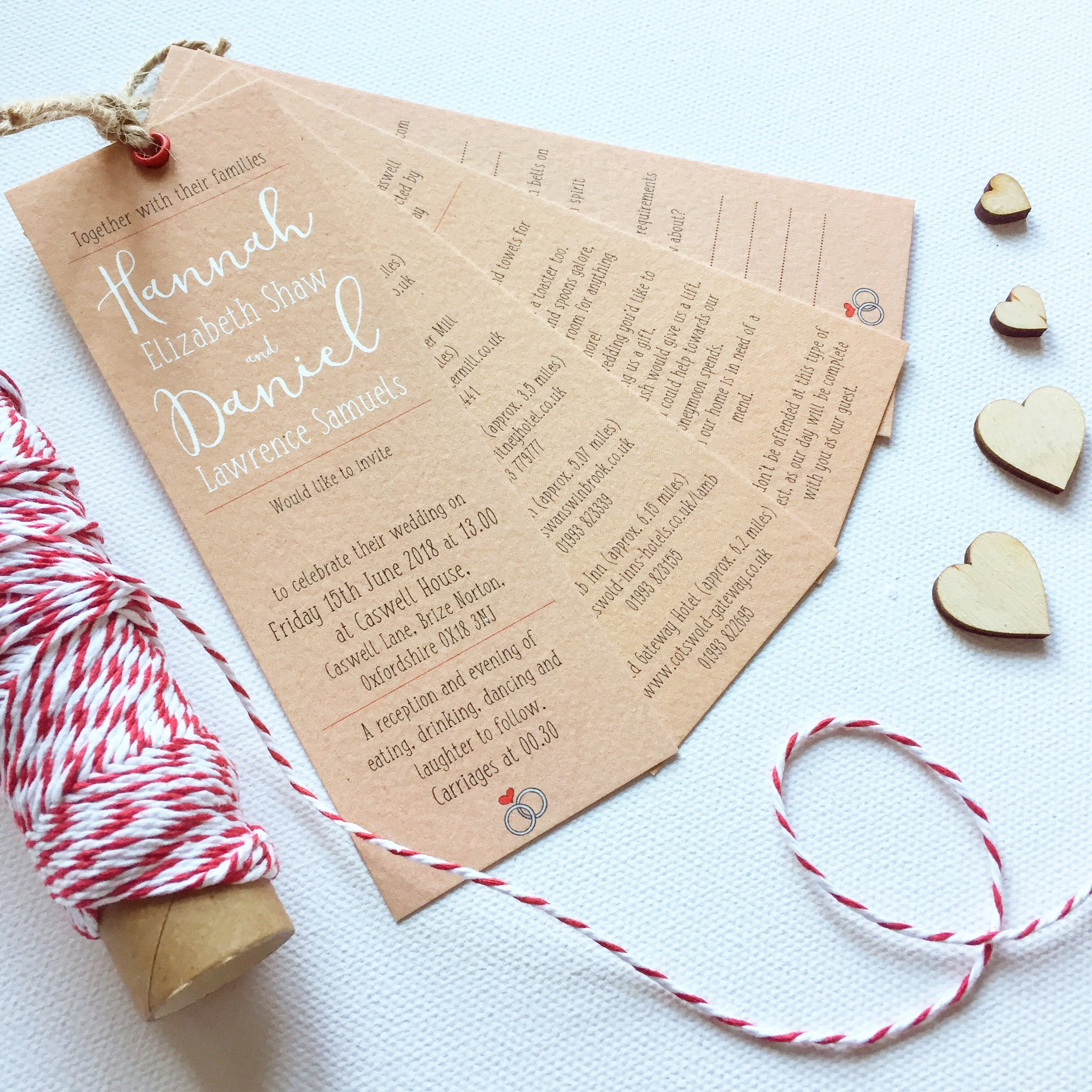 Little Lights wedding invites swing tag style kraft