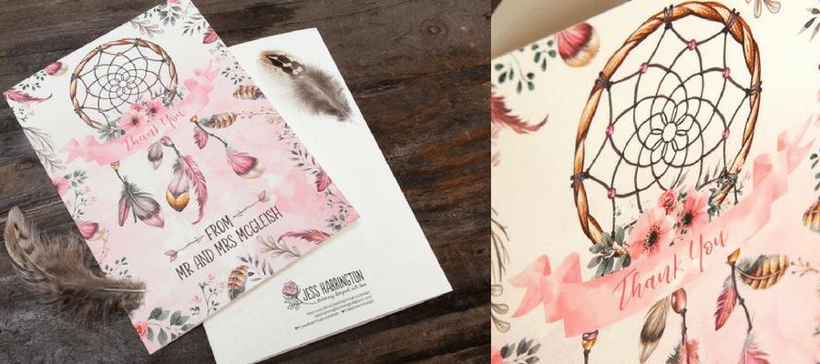 Jess Harrington Boho dreams wedding stationery proudly printed