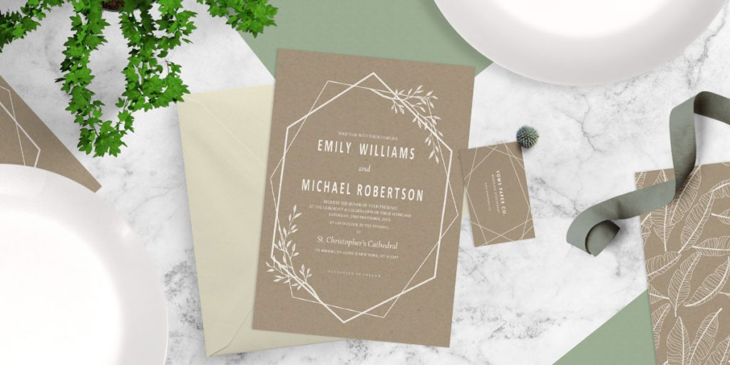 White Ink on Kraft wedding invitation