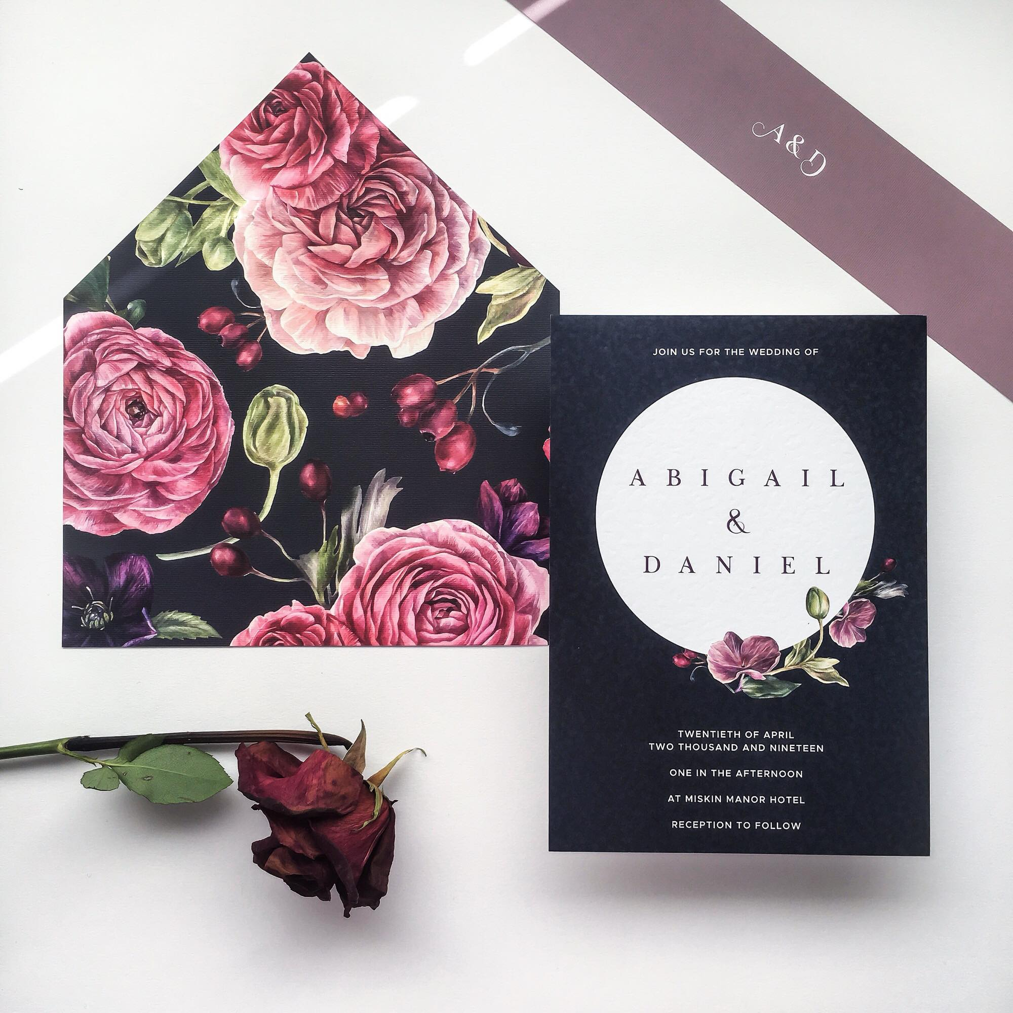 Dark and romantic printed wedding envelopes liners and invites