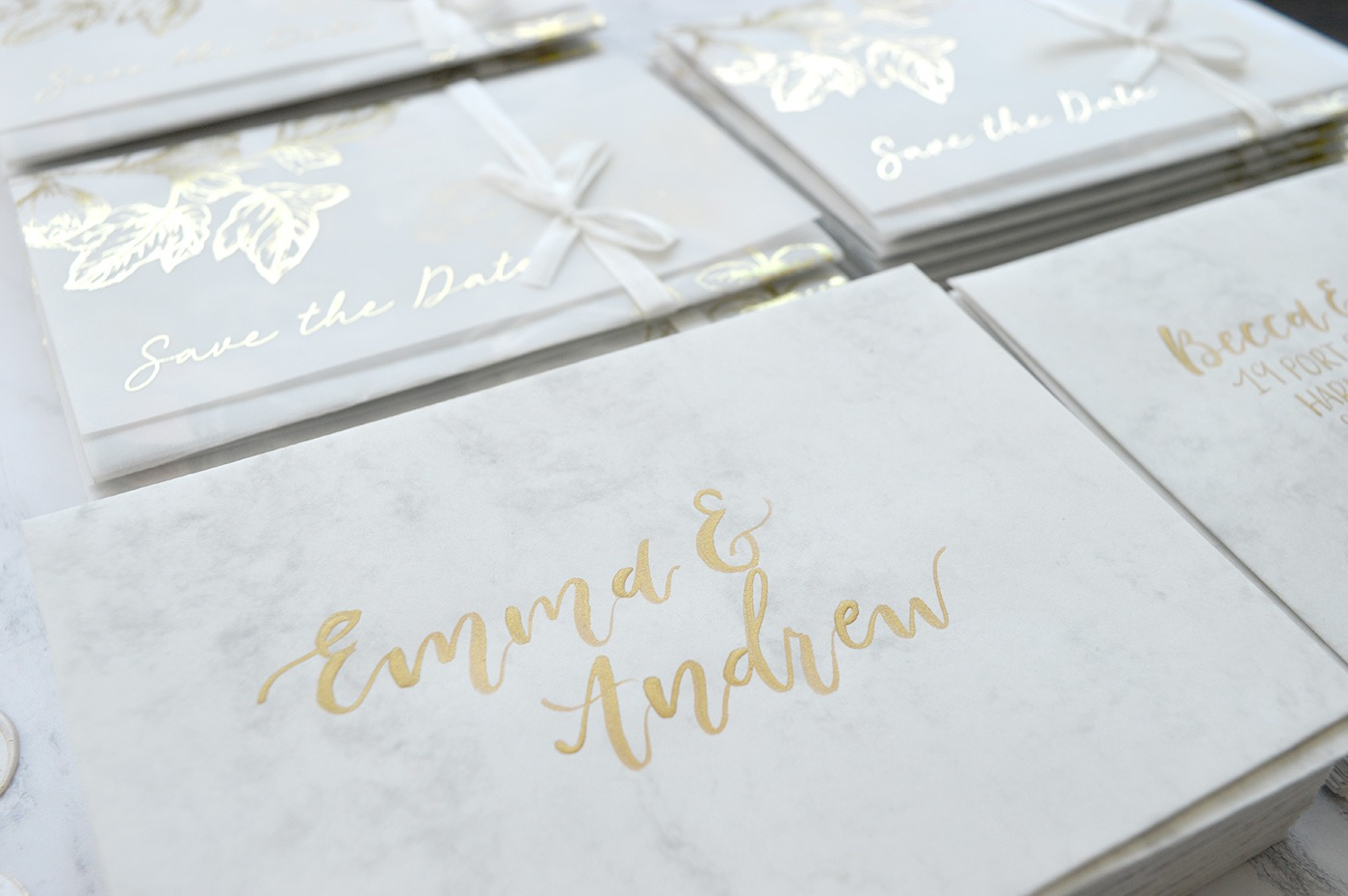 Foil Printed chromatic paper wraps by Amanda Michelle Design and Stationery