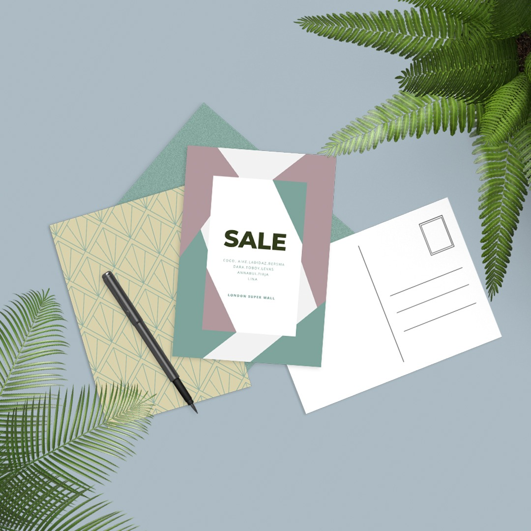 Sales postcards and flat flyers