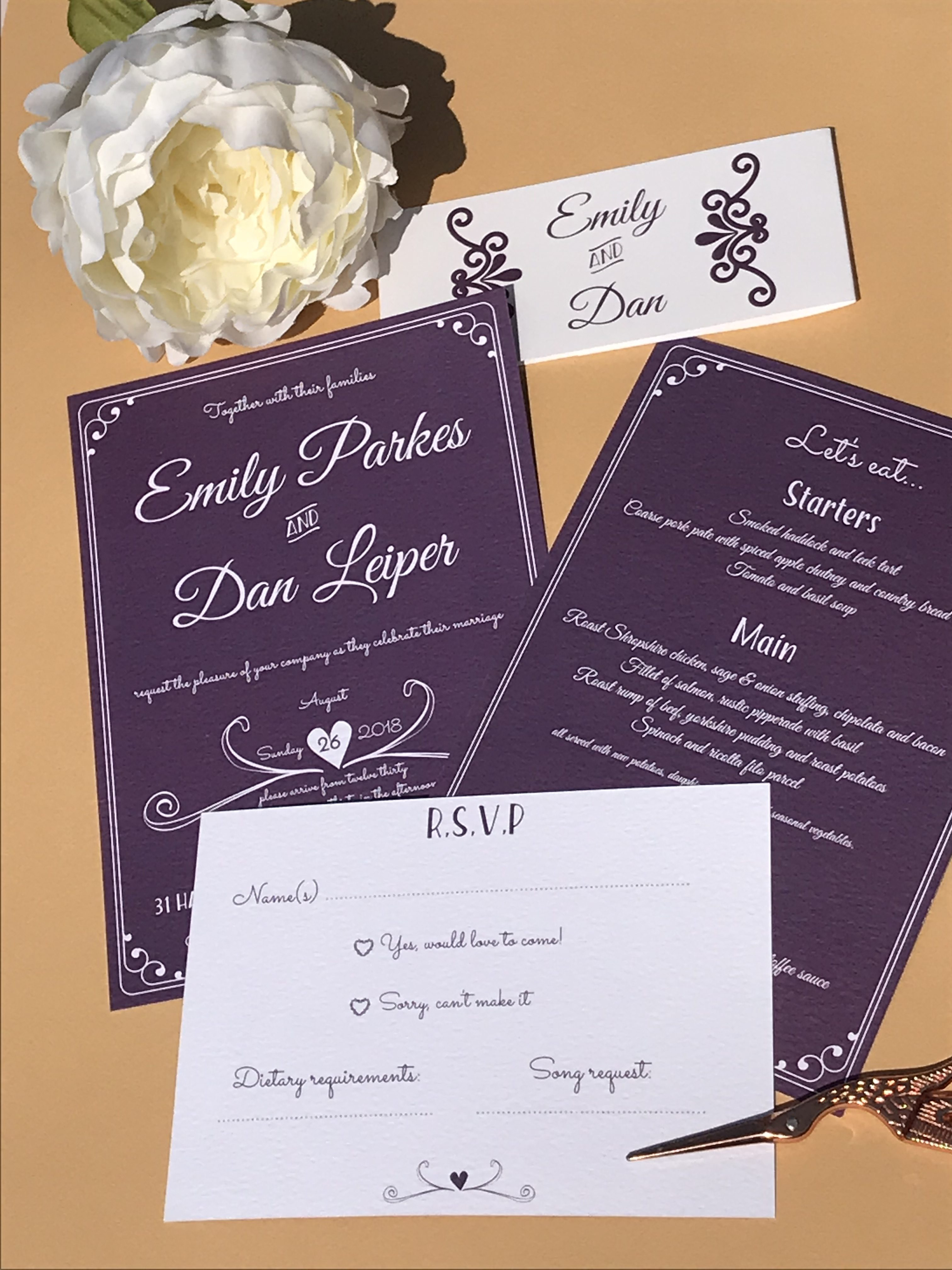 Lavender and Lace wedding invites