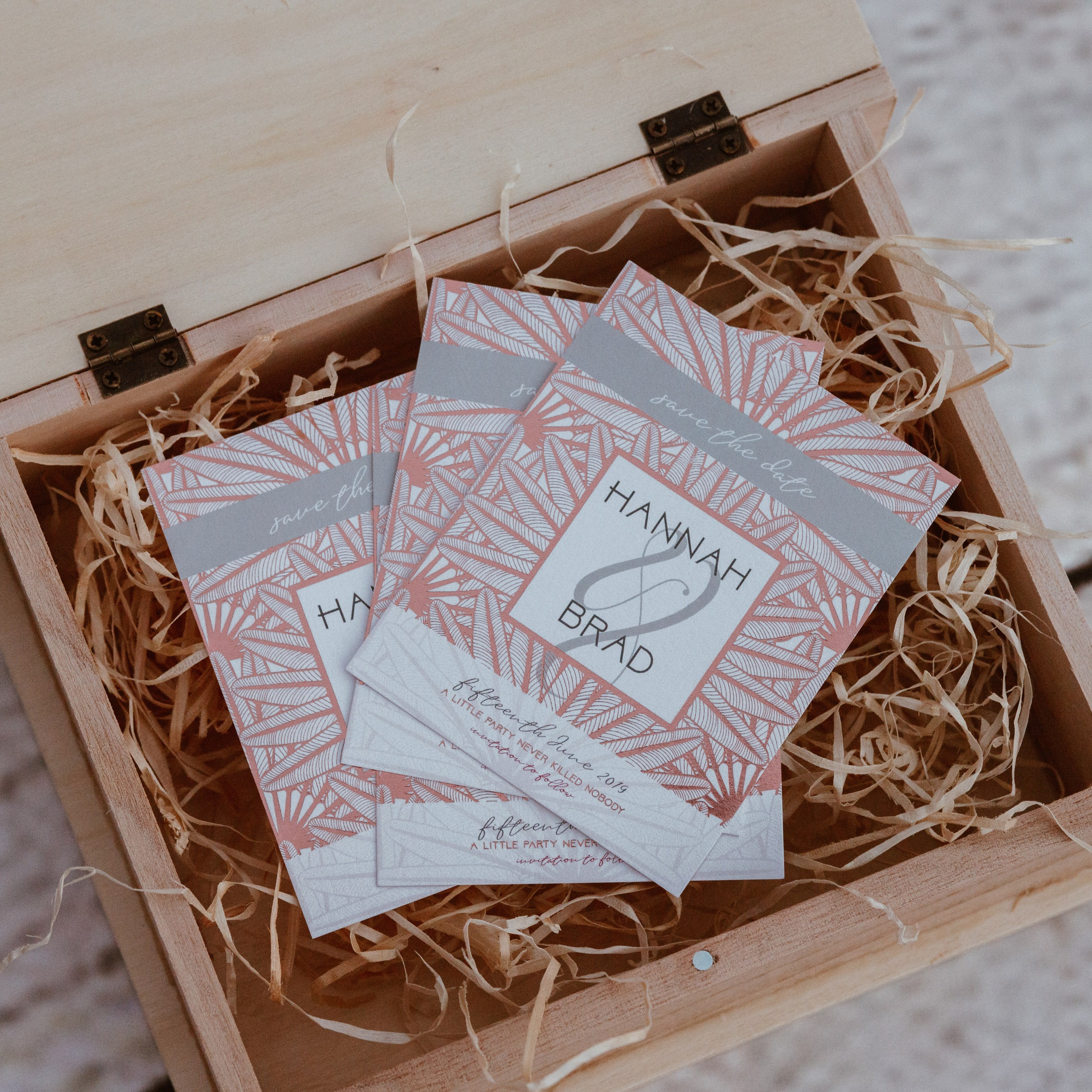 Block Foiled, custom size Save The Date cards by Say it with Lace