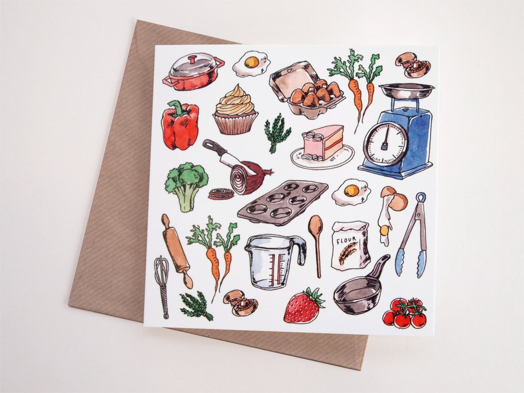 The GBBO Edition: Food print Greeting Card By Savannah Storm