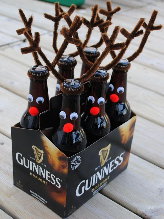 Christmas reindeer beer bottles