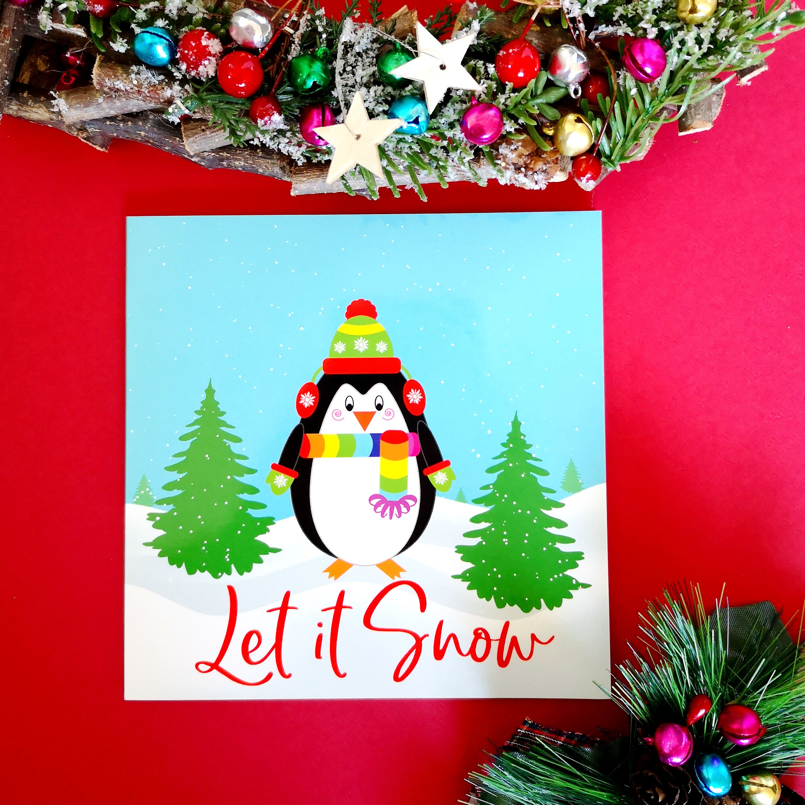 Let it snow Christmas Card design by colour your life club