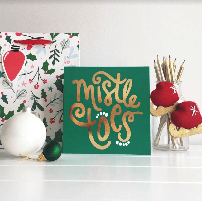 MistleTOES Christmas card with gold foiling by Squaire London Greeting Card Christmas Card festive typographic design