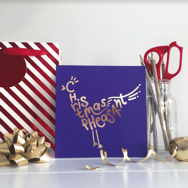 Christmas card with rosegold foiling by Squaire London Greeting Card Christmas Card festive typographic design