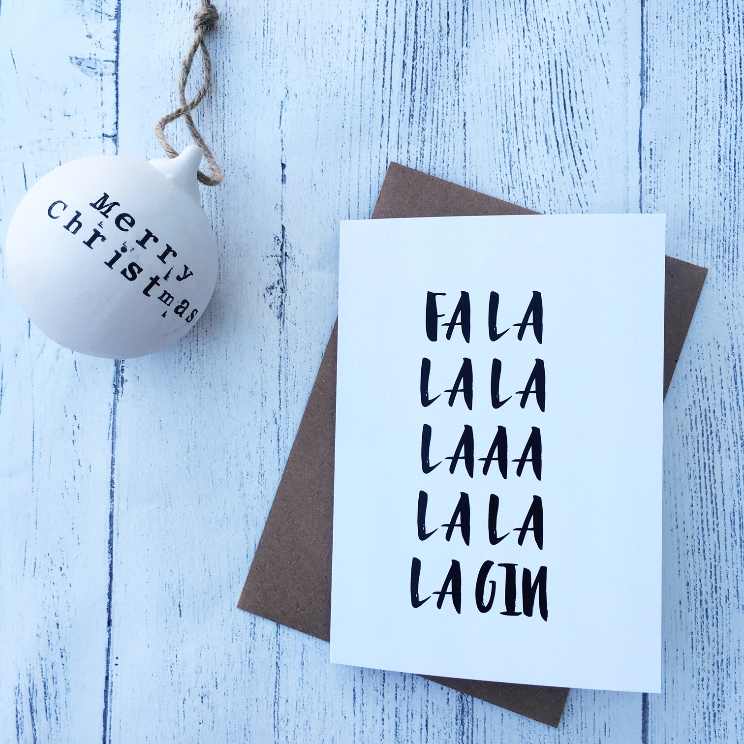 Fa la la la la la la la la GIN Christmas card