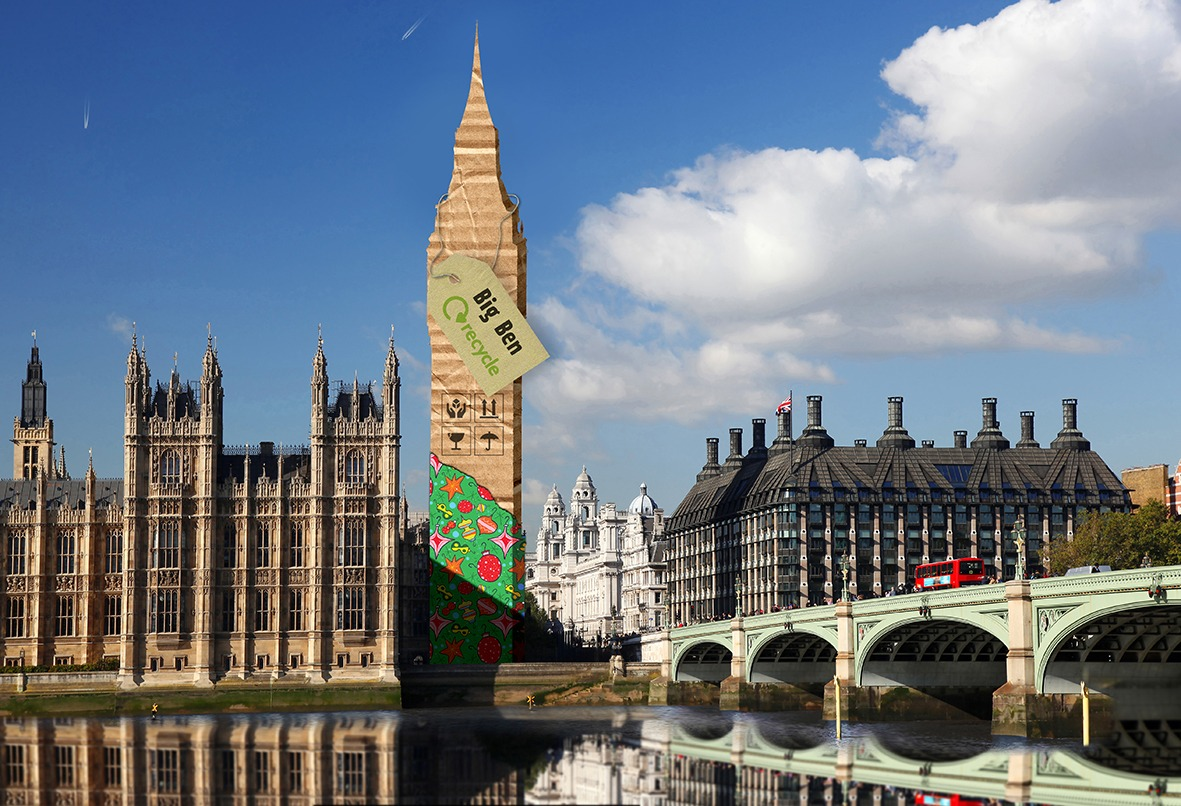 Big ben wrapped in wrapping paper - recycle wrapping paper