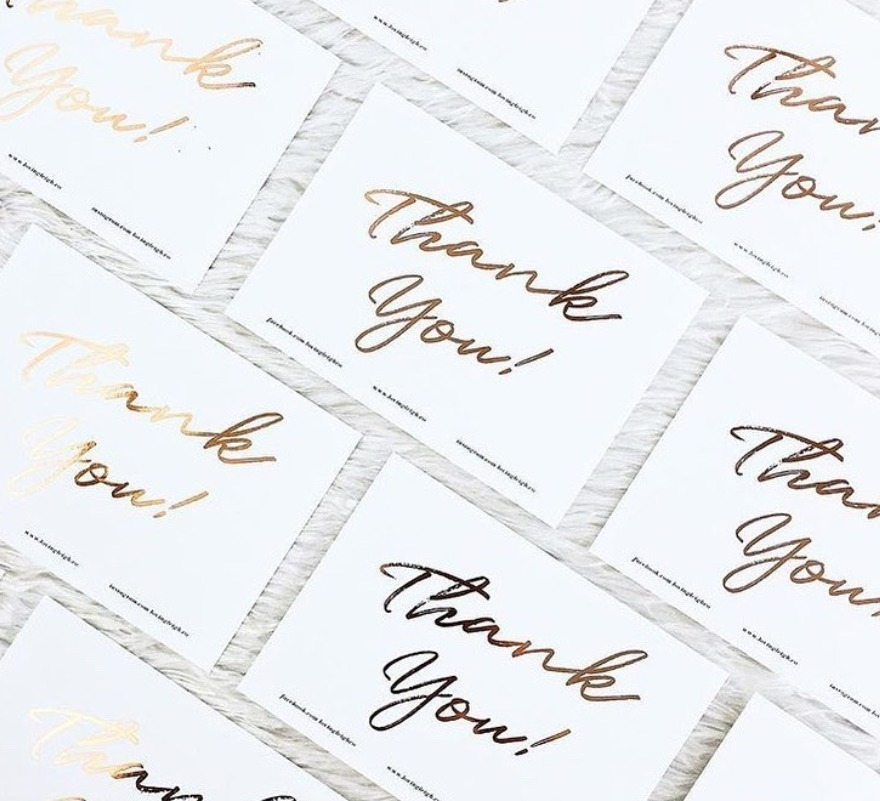 Foiled Postcards as Thank you cards