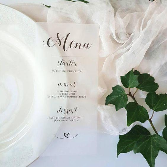 Vellum printed menus