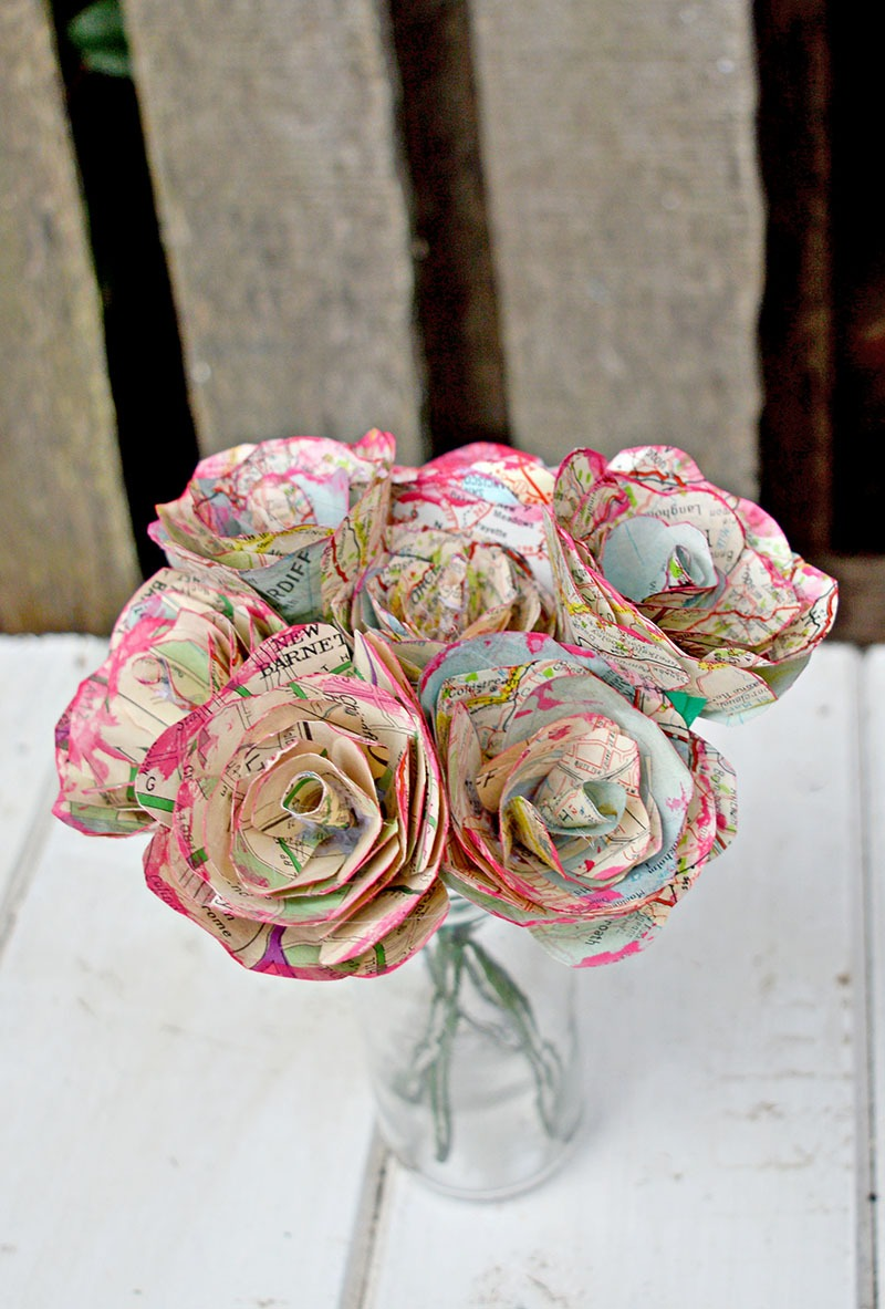 Paper flower bouquet - recycle wrapping paper