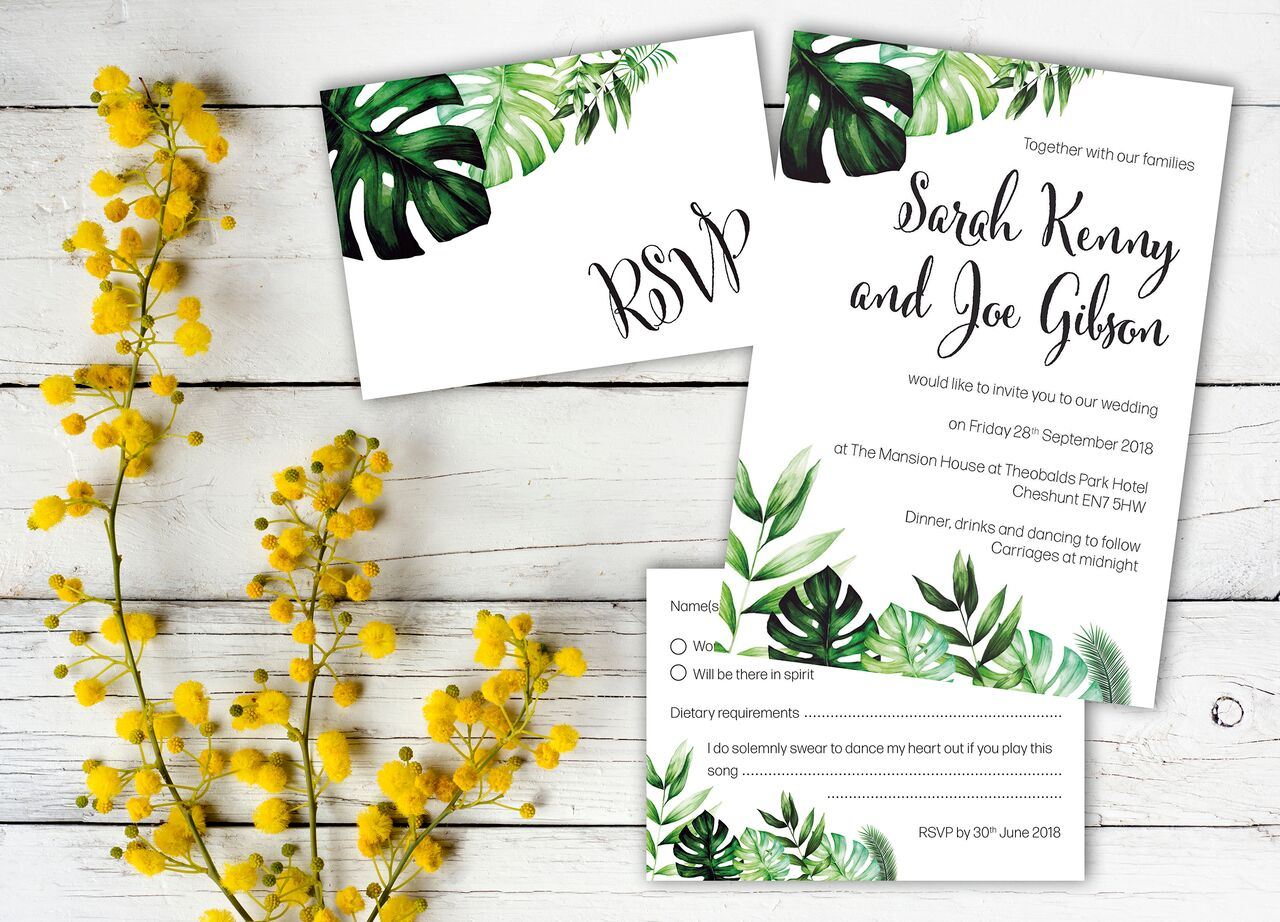 The Pineapple Prints - botanical wedding invite set #ProudlyPrinted