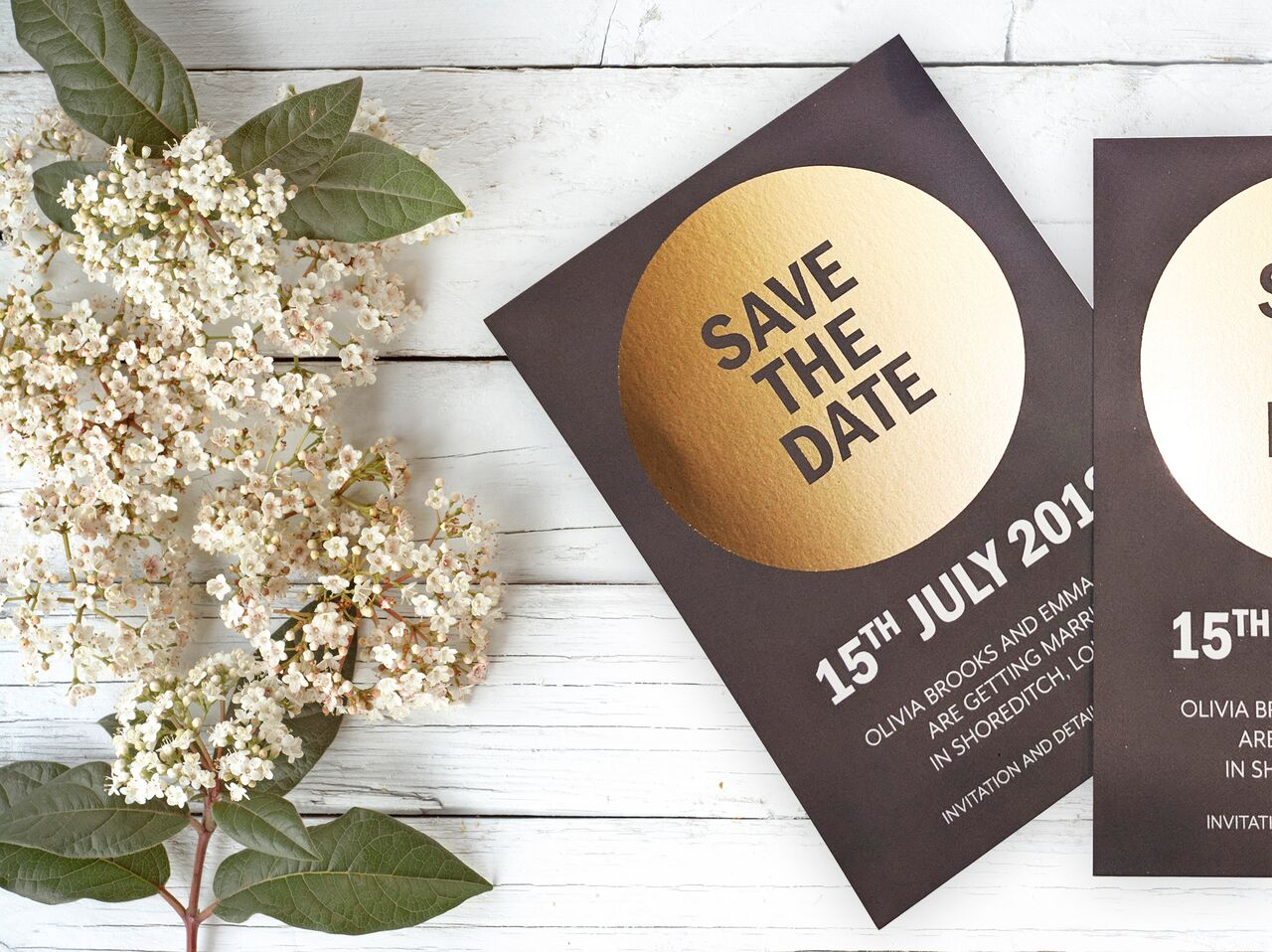 The Pineapple Prints - Metallic foiled save the date set #ProudlyPrinted