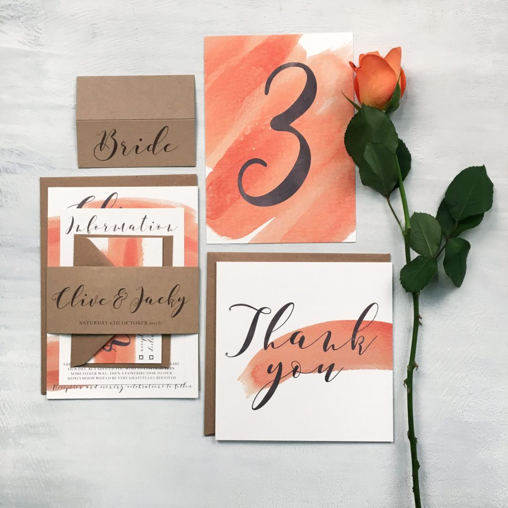 Jolie Carte peach stationery