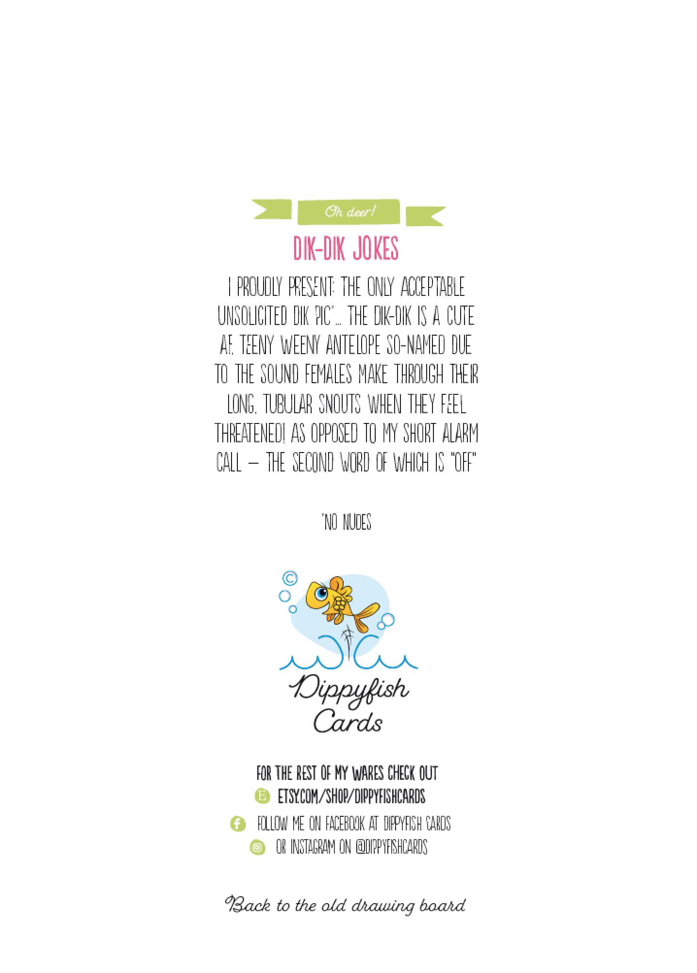 Dippyfish Cards Valentine's Day card Dik Dik pic