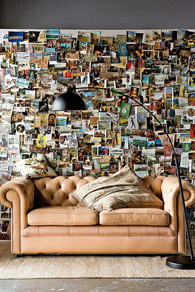 Photo wall made of postcards