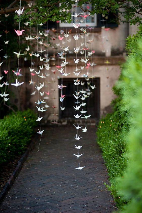 Origami crane hanging