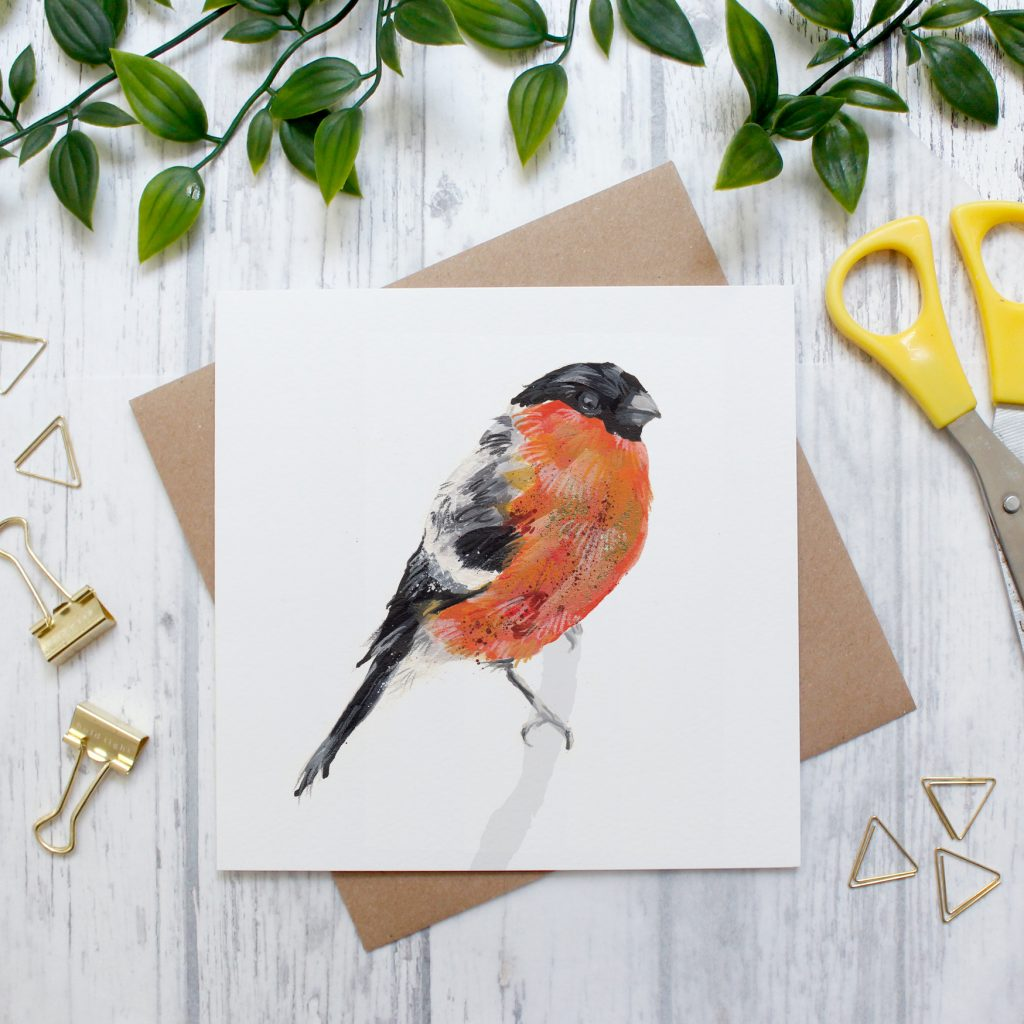 Abby Cook Illustration bullfinch design card