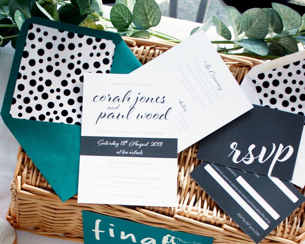 monochrome wedding stationery by francesca weddings, printed by printed.com