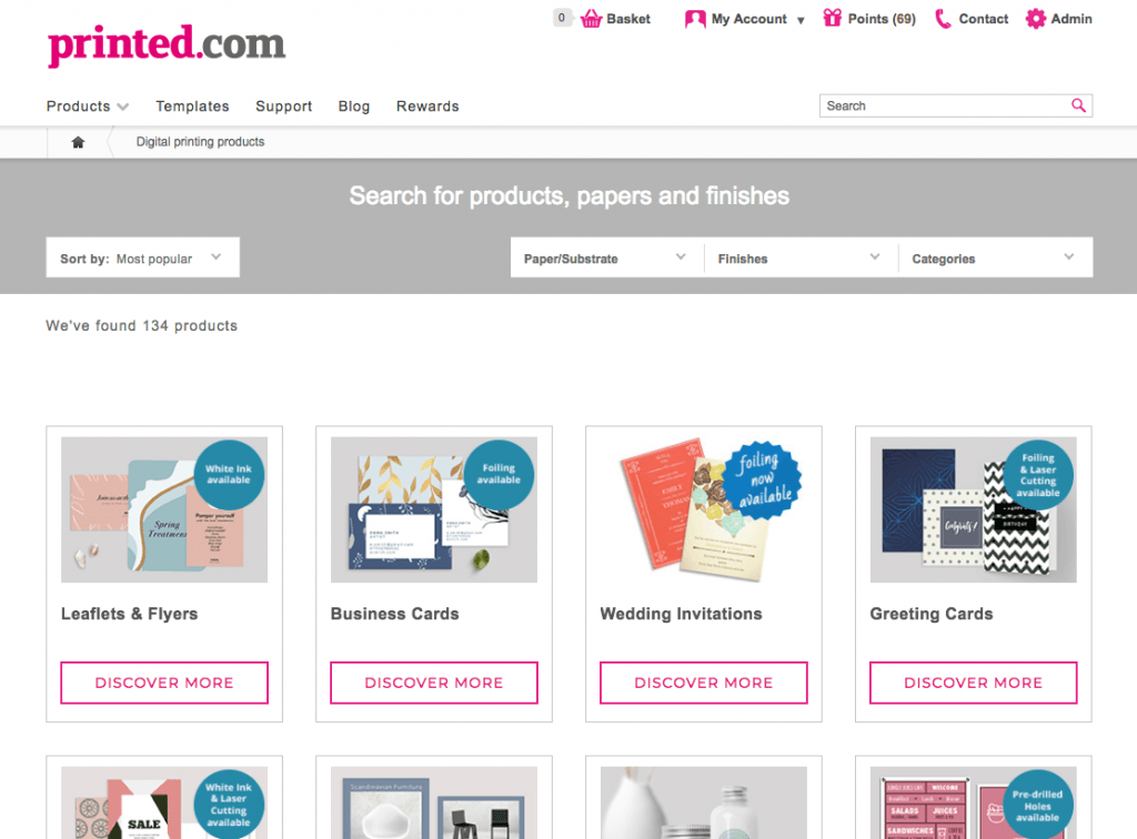 new product page at printed.com