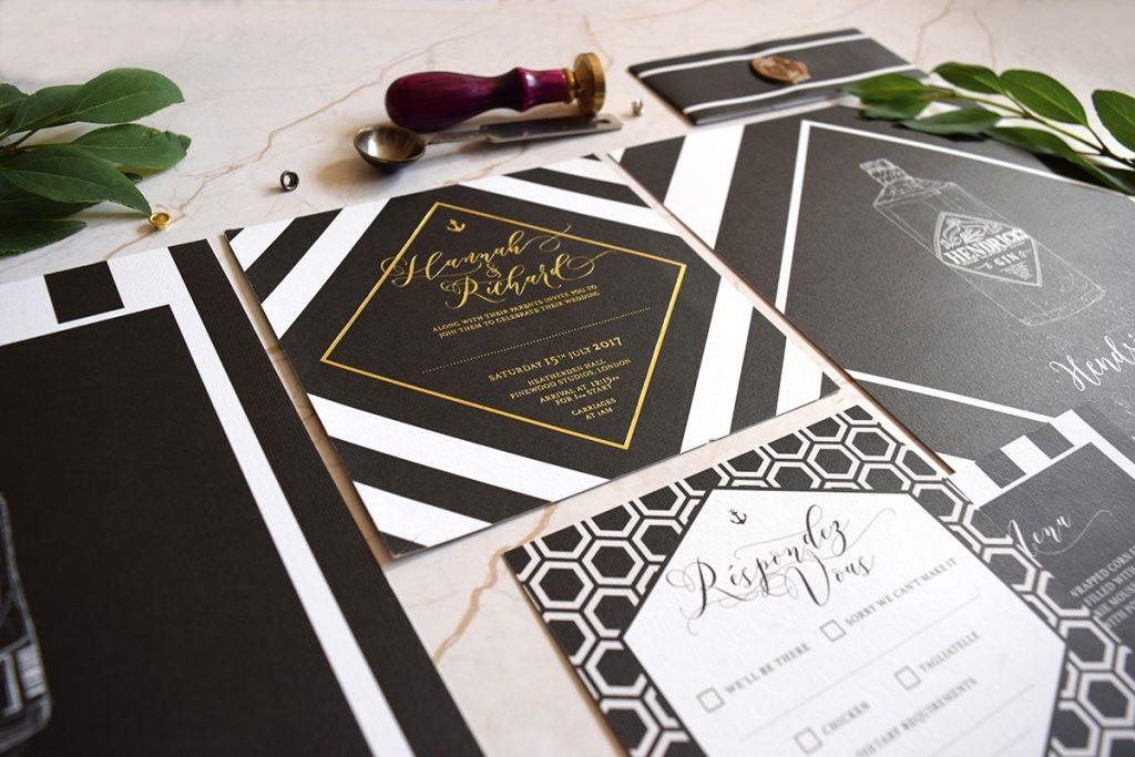 Monochrome invites by I Do Invites - printed by printed.com