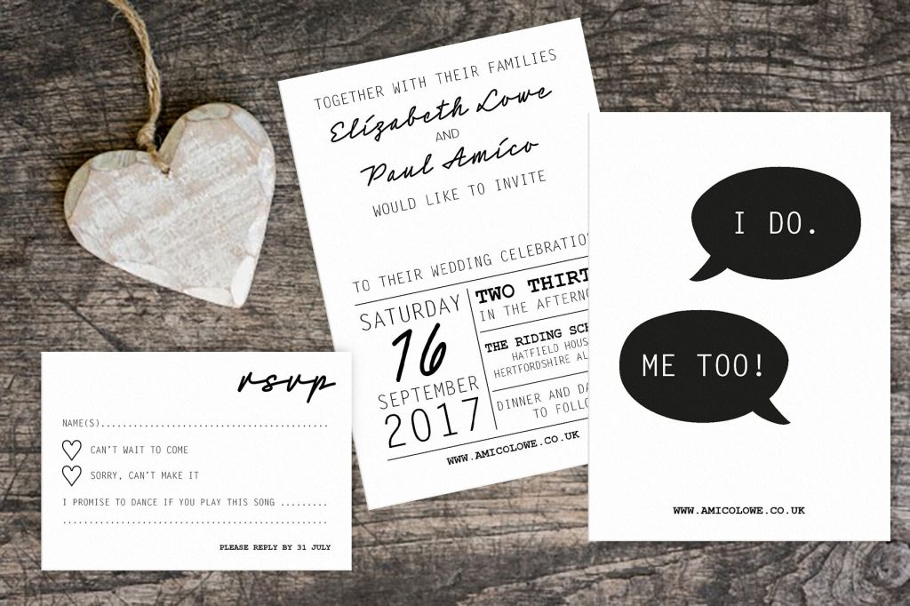 monochrome wedding stationery by francesca weddings, printed by printed.com