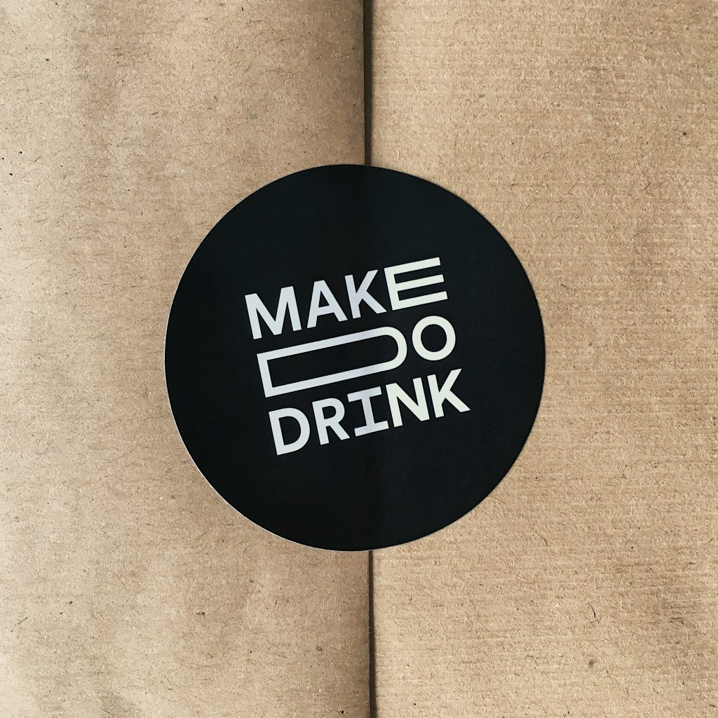 Make Do Drink - branded stickers printed at printed.com