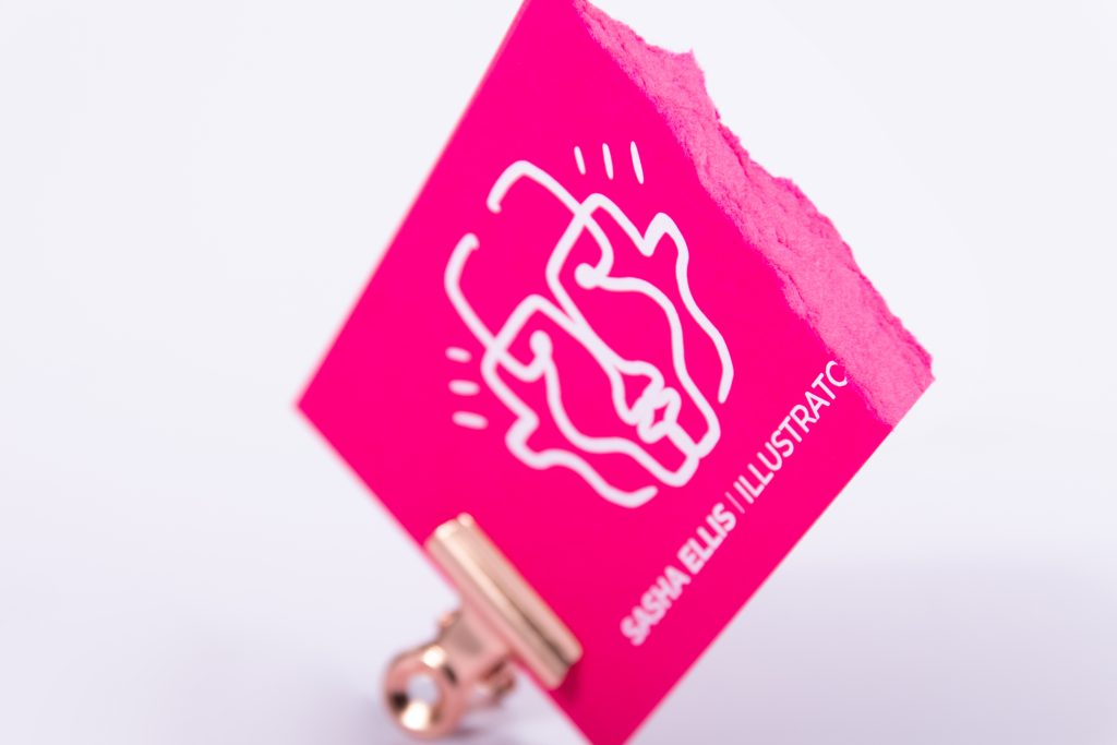 white ink business card design