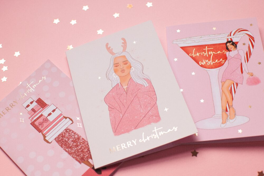 Pink Christmas Card designs